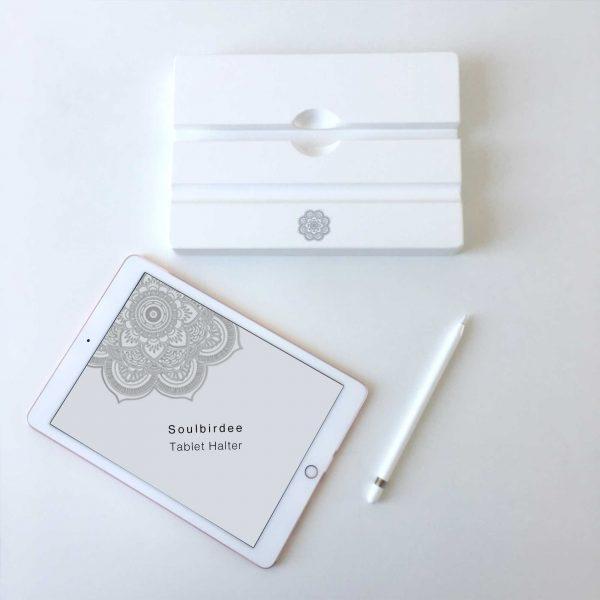 Tablet Halter in Weiss aus Holz