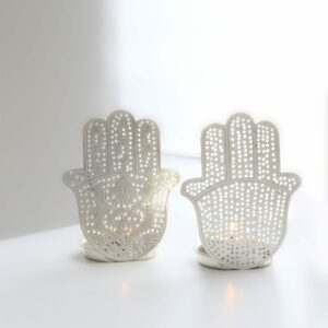 Orientalische Teelichter Fatimas Hand in Silber, mit Hamsa Hand von Zenza
