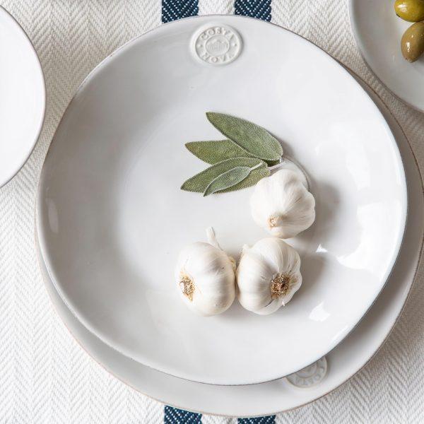 Suppen / Pasta Teller in Weiß aus Steinzeug | mediterranes Speise und Kuchen Frühstücks Geschirr - in Weiß, Türkis, Blau erhältlich. Für Spülmaschine / Mikrowelle
