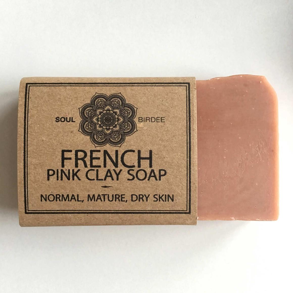 Vegane Gesichts Seife aus Rosa Tonerde, natürliche Inhaltsstoffe