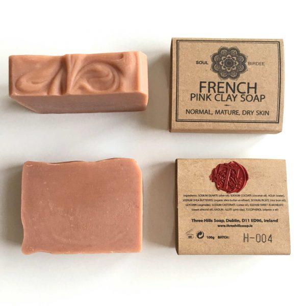 Rosa Tonerde Pink Clay Vegane Seife für das Gesicht. Ohne schädliche Inhaltsstoffe. Für empfindliche, trockene Haut, Mischhaut. Handgemacht, Three Hill Soap