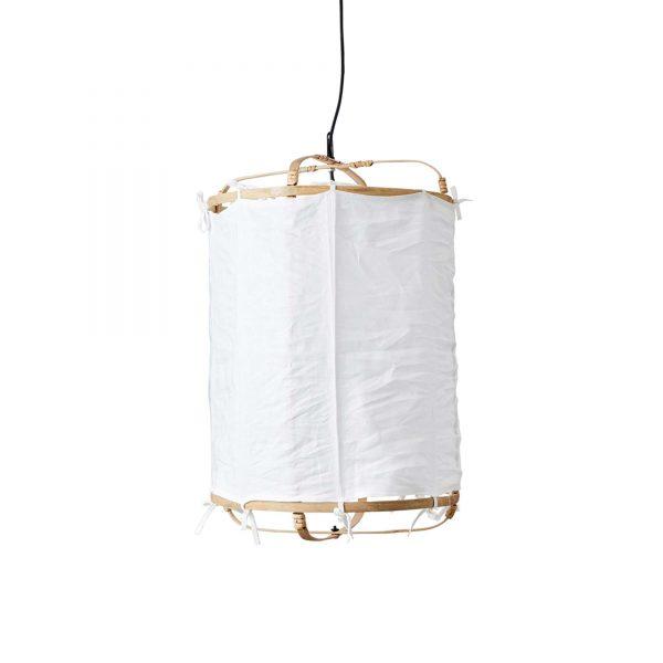 Hängelampe aus weißem Stoff und Bambus im Boho Wohnstil von Affari. Lampe / Leuchte / Lampenschirm aus Leinen Bespannung ♥ Zum Aufhängen an die Decke ♥ Strandhaus Stil
