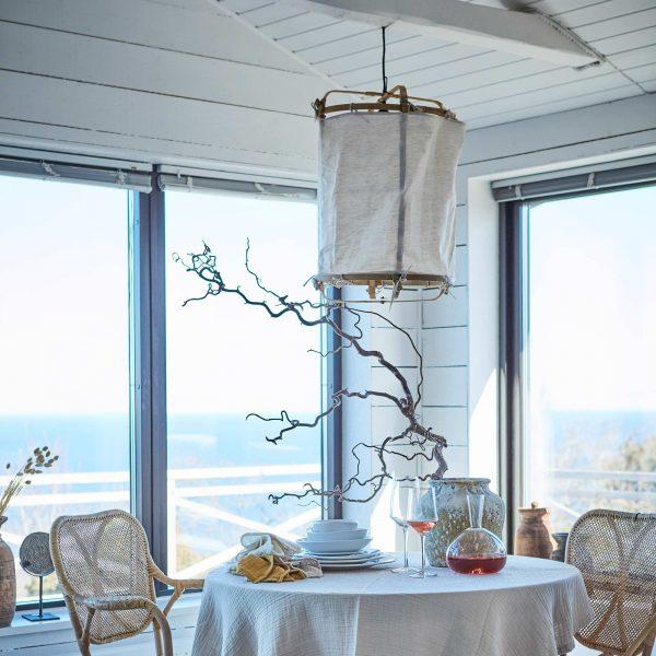 Boho Lampe aus weißem Leinen & Bambus ♥ Boho Wohnstil ♥ Affari. Lampe / Hängelampe / Lampenschirm aus Leinen Bespannung ♥ Zum Aufhängen an die Decke ♥ Strandhaus Stil
