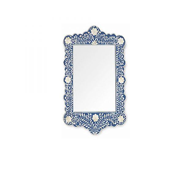 Blauer orientalischer marokkanischer Spiegel mit Intarsien Inlay Muster und weißen Blumen. Handgemachter großer Inlay Spiegel aus Rajasthan   schneller Versand