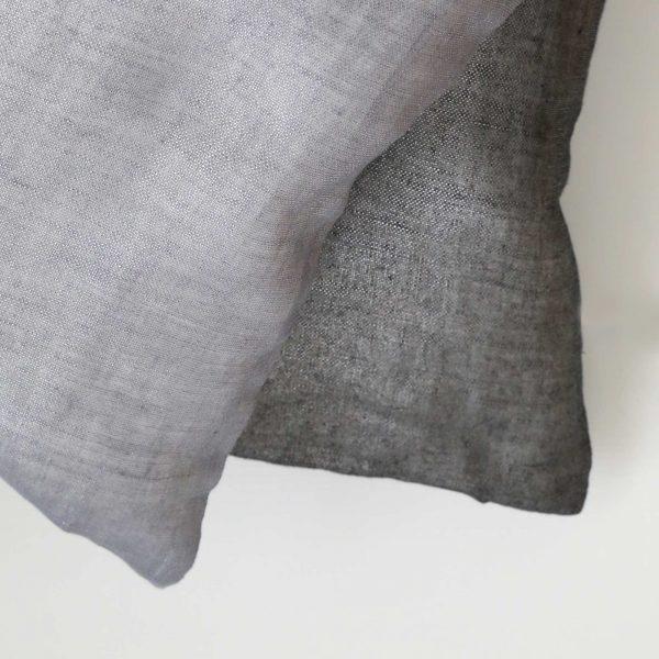 Oriental Kissen aus Leinen, Zenza, in Grau und Schwarz metallic