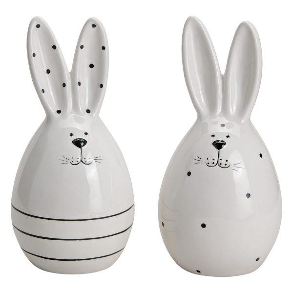 Deko Hasen aus Porzellan in Schwarz Weiß