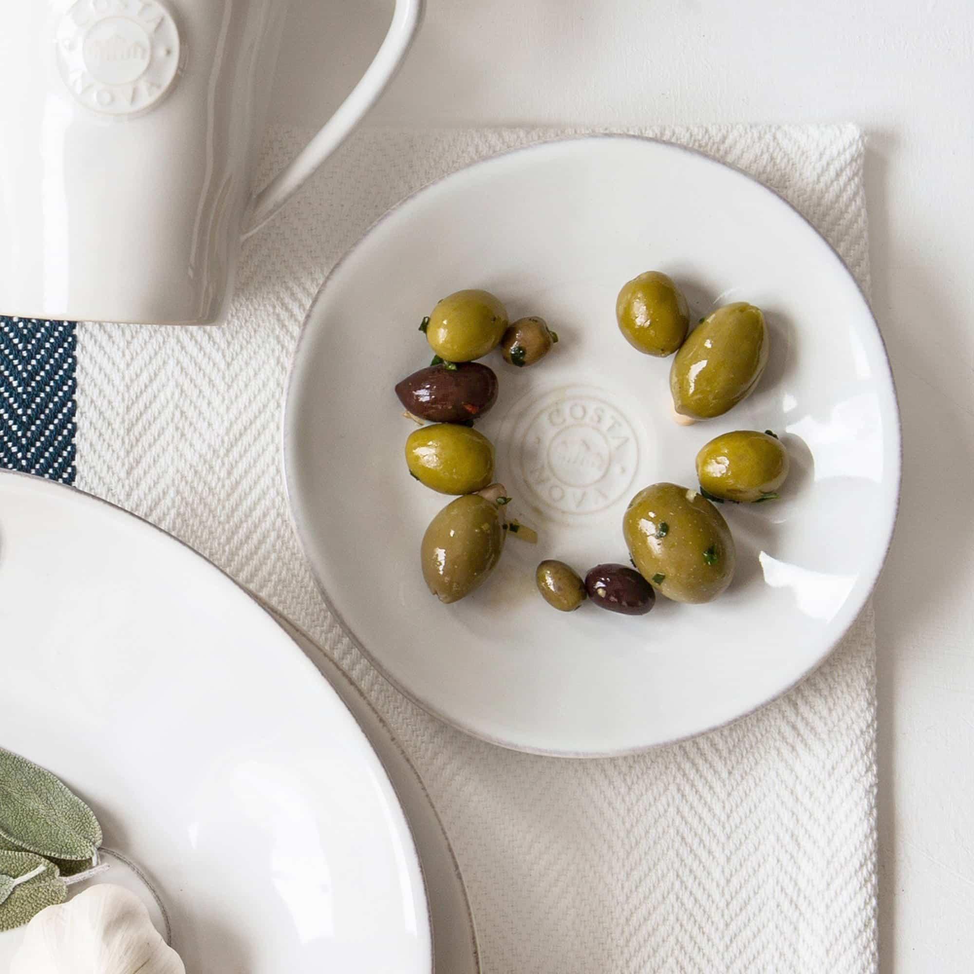 Brotteller in Weiß | mediterranes Speise und Kuchen Frühstücks Geschirr - in Weiß, Türkis, Blau erhältlich. Für Spülmaschine / Mikrowelle
