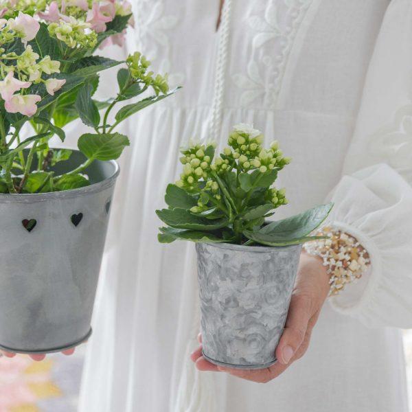 Blumentopf aus Blech mit einer romantischen Gravur passend für kleine Blumensträuße oder Pflanzen wie Geranien. Blumentopf im Shabby chic jetzt kaufen