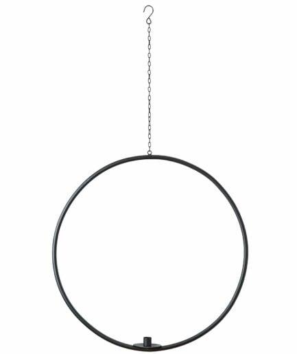 Kerzenhalter Ring in Schwarz Metall Skandi Stil ♥ Hängender Kerzenring für eine Kerze | Mit Tropfschutz für das Wachs ☆ Schneller Versand und netter Service