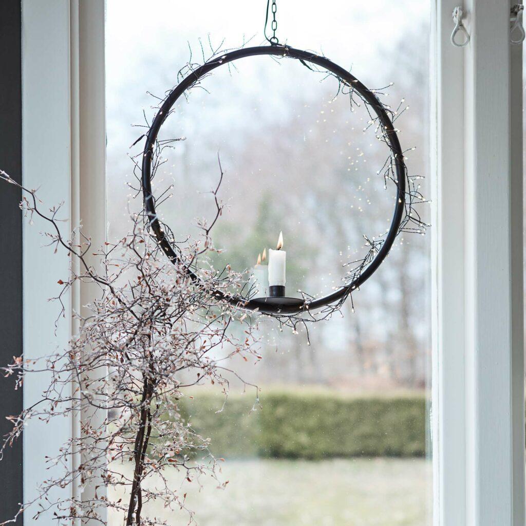 Kerzenhalter Ring in Schwarz Metall Skandi Stil ♥ Hängender Deko Ring für eine Kerze | Mit Tropfschutz für das Wachs ☆ Schneller Versand und netter Service