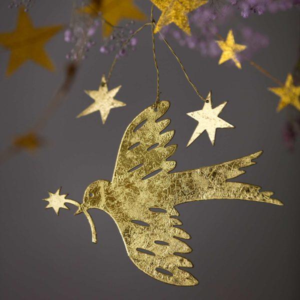 Deko Anhänger goldener Vogel aus dünnem Metall für die skandinavische Dekoration zu Weihnachten und im Advent. Wunderschöne Xmas Deko von Bungalow DK online kaufen