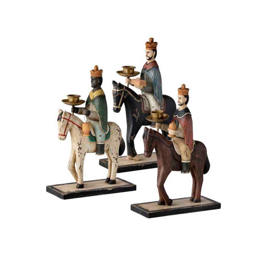 Holzfiguren Heilige 3 Könige geschnitzt und farbig bemalt. Skandinavische Weihnachtsdekoration 2020 aus Dänemark. Online kaufen, schneller Versand