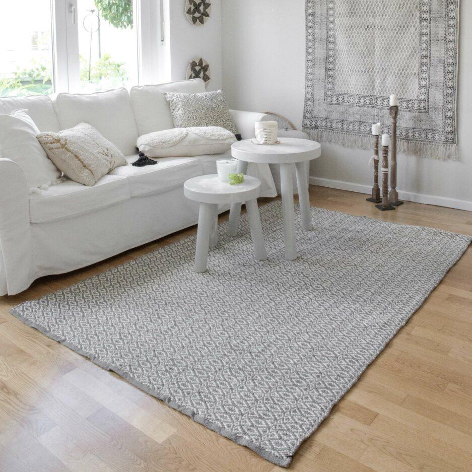 Grauer Teppich ☆ Waschbarer Teppich für das Leben mit Allergikern und Haustieren ☆ aus Baumwolle, von Liv Interior ☆ pflegeleicht | Onlineshop Soulbirdee