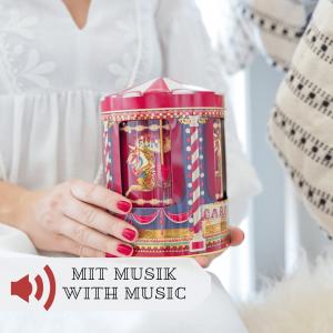 Keksdose mit Spieluhr im nostalgischen Design für Lebkuchen und Plätzchen. Runde Dose für Kekse und Weihnachtsplätzchen mit einem Motiv aus Pferden und einem Karussell
