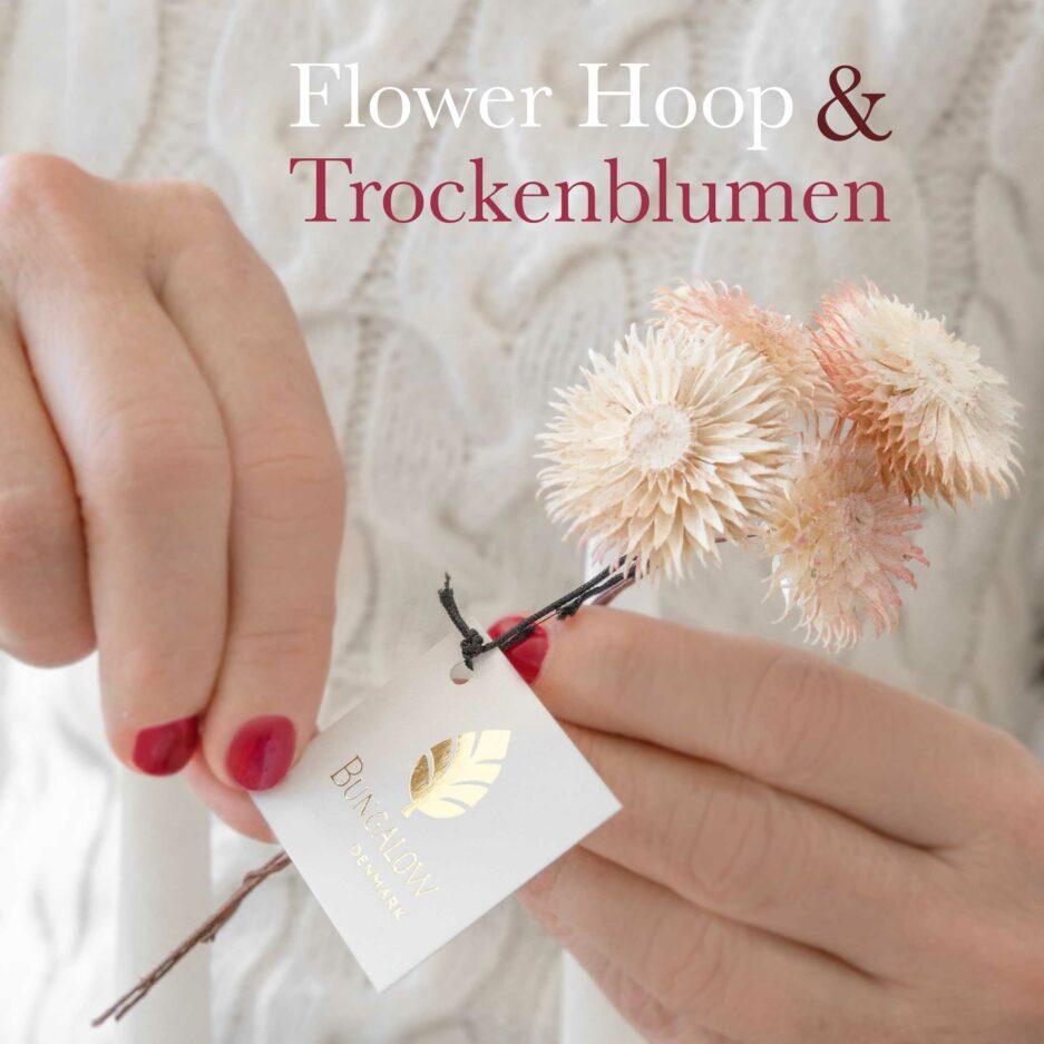 Getrocknete Blumen für die Dekoration von Flower Hoop | Trockenblumen von der Marke Bungalow DK für die Deko im Skandinavischen Boho Stil, Frühlingsdeko und für den Adventskranz