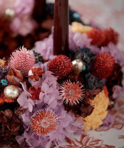 Glitzernde Beeren in Gold für die Dekoration des Adventskranz und der Herbstdeko. Die goldenen Beeren aus Plastik schmücken den Tannenkranz im eleganten Stil