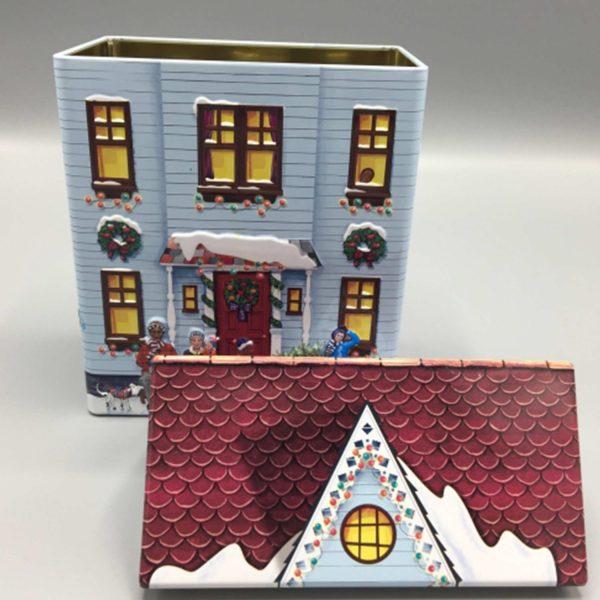 Keksdose Stadthaus ♥ Schöne Keksdose aus England. Ein süßes Haus in weihnachtlicher Deko und Schnee, mit Dach als Deckel, in Blau ☆ Online kaufen