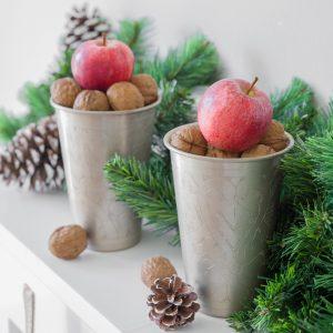 Lassi Becher in Silber zum dekorieren in der Weihnachtszeit von der Marke Affari. Großer Becher aus Metall für die Weihnachtsdekoration im marokkanischen und Bohemian Stil