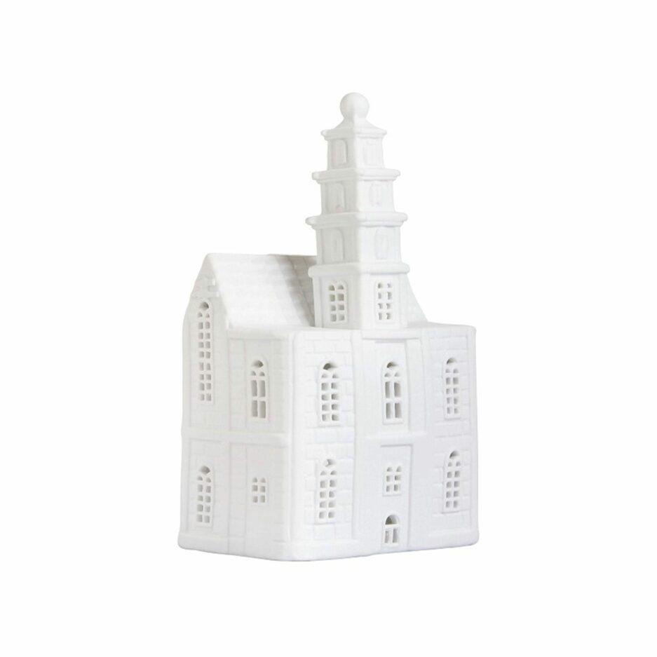Kerzenhalter in Hausform aus weißem Porzellan von Klevering aus Amsterdam. Kerzenhalter in der Form eines Grachtenhaus aus Amsterdam für Kerzen und die Dekoration im Wohnzimmer