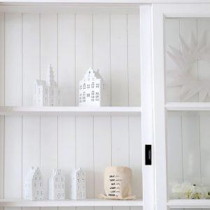 Kerzenhalter in Hausform aus Porzellan von der Marke Klevering. Windlichter und Kerzenständer in der Form eines Grachtenhaus aus Amsterdam, Soulbirdee Onlineshop