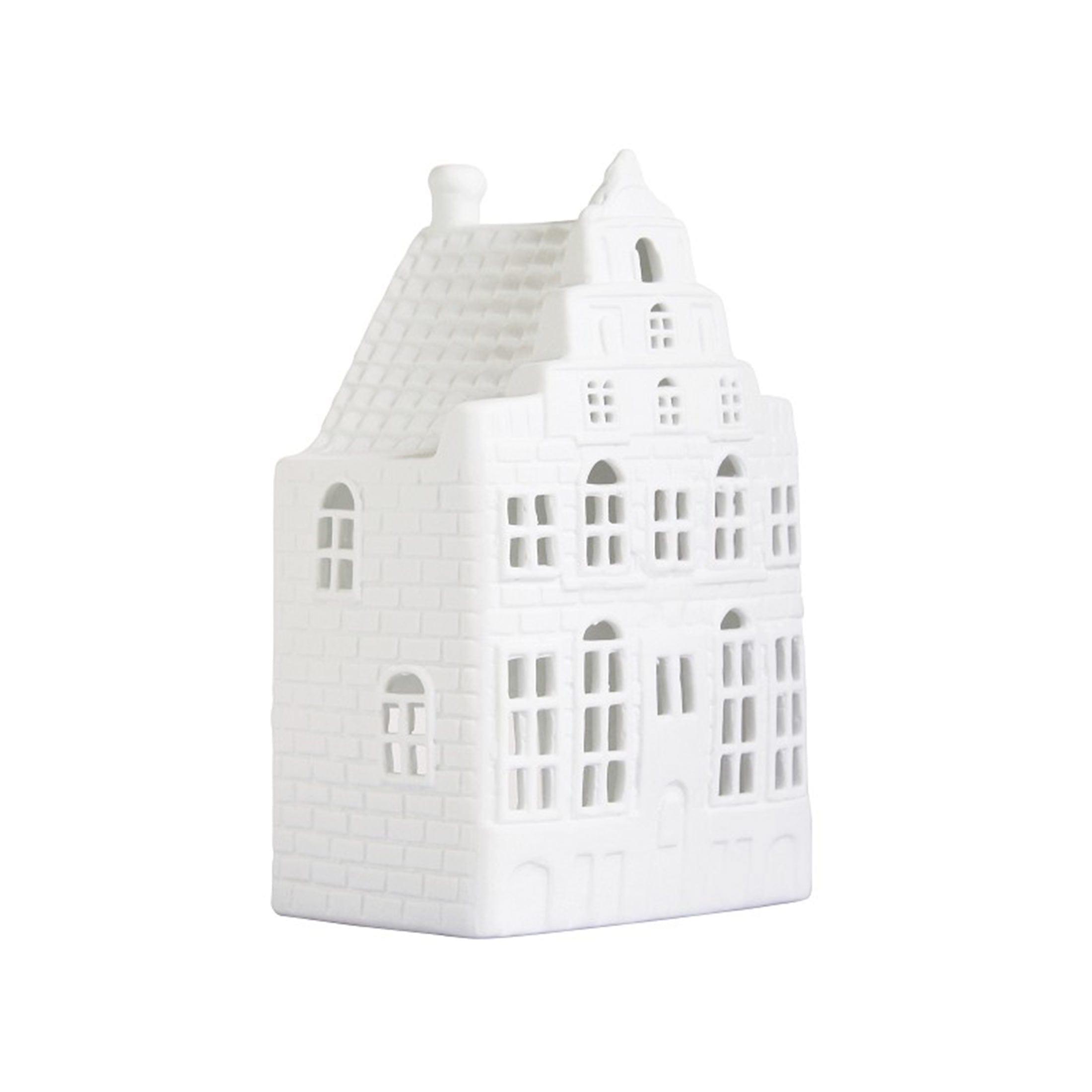 Kerzenhalter Haus aus Porzellan für Kerzen im skandinavischen Wohnstil für die Dekoration im Wohnzimmer. Halter für Kerzen in der Form eines Haus in Amsterdam für Teelichter