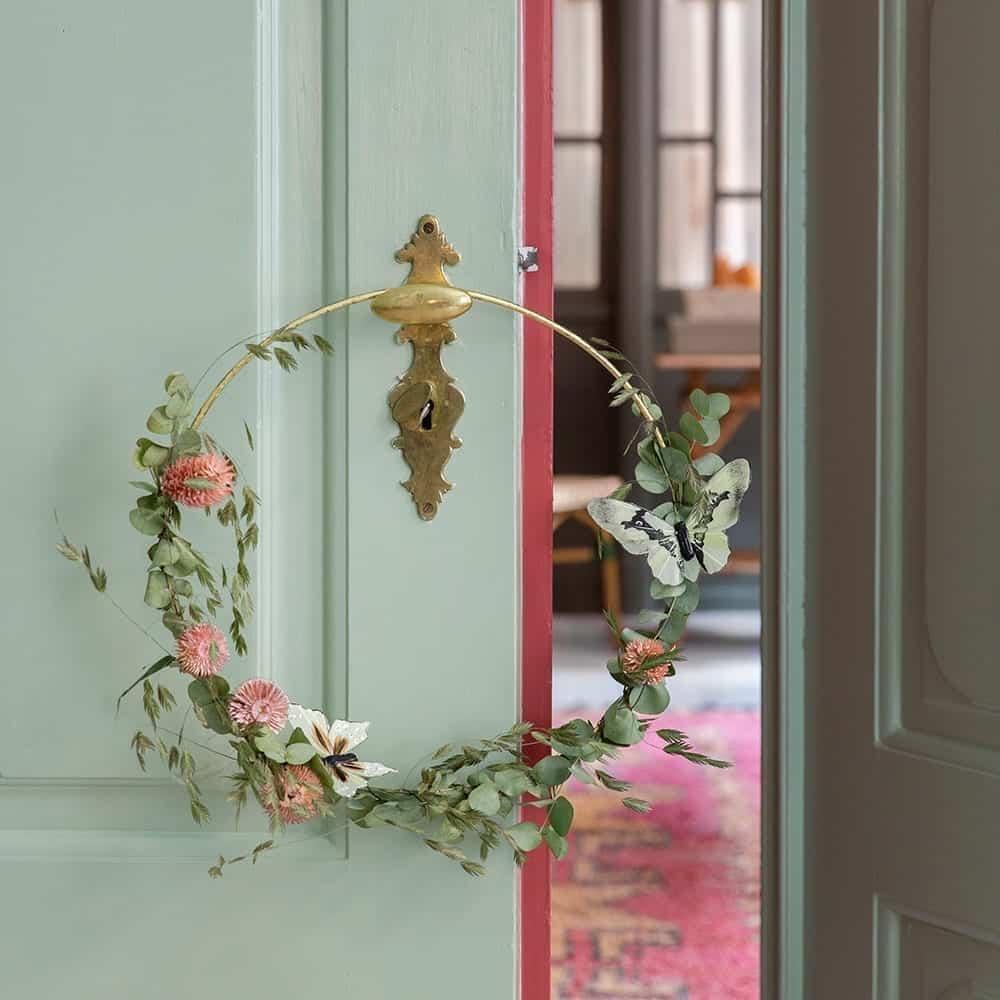 Kranz als Türkranz für DIY Blumen binden, Blattgold Ring in Gold als Flower Hoop