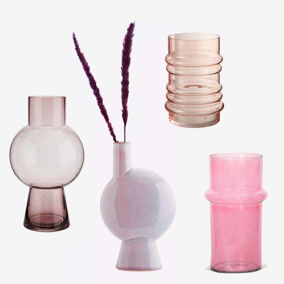 Glas-Vasen in Rosa, Pink