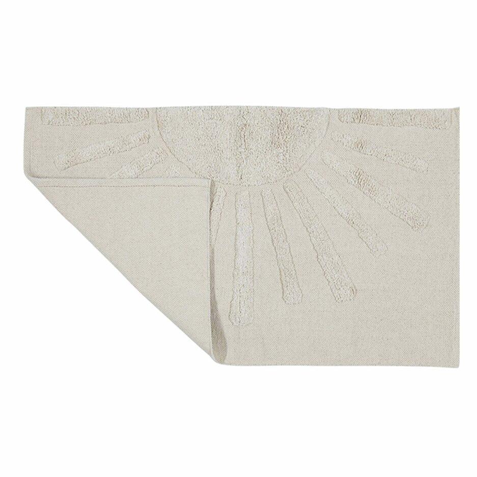 Bohemian Badteppich aus weisser Baumwolle, in 90 x 60 cm (rechteckig) und waschbar! Der rechteckige Teppich ist Ökotex zertifiziert und hat eine weiße Sonne als Motiv