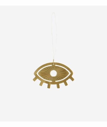 Dekoration mit Fatima´s Auge in Gold zum Hängen, als Geschenk oder als Anhänger. Das Glücksmotiv besteht aus Metall. Dekoration, Wohndeko online kaufen