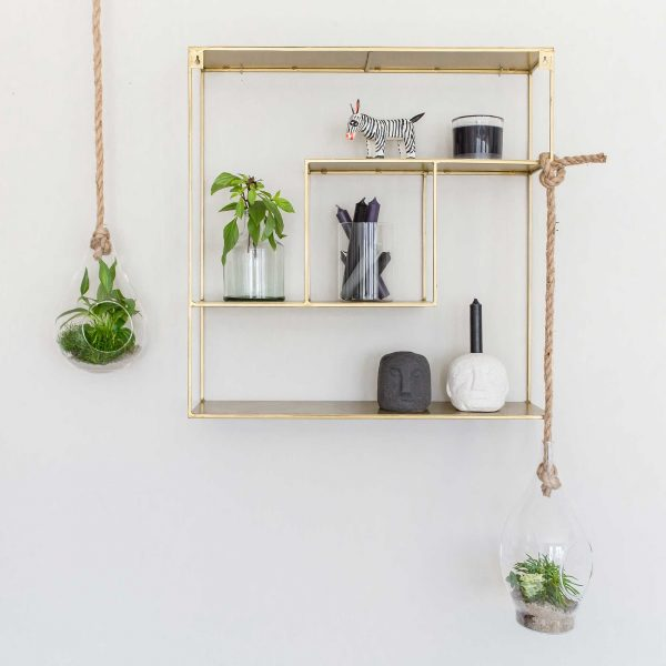 Hängevase aus Glas, die Sie mit einem Seil aufhängen können. Für Sukkulenten und Pflanzen. Treibhaus im skandinavischen Stil für die Jungle Deko Zuhause. Hängende Wohndeko