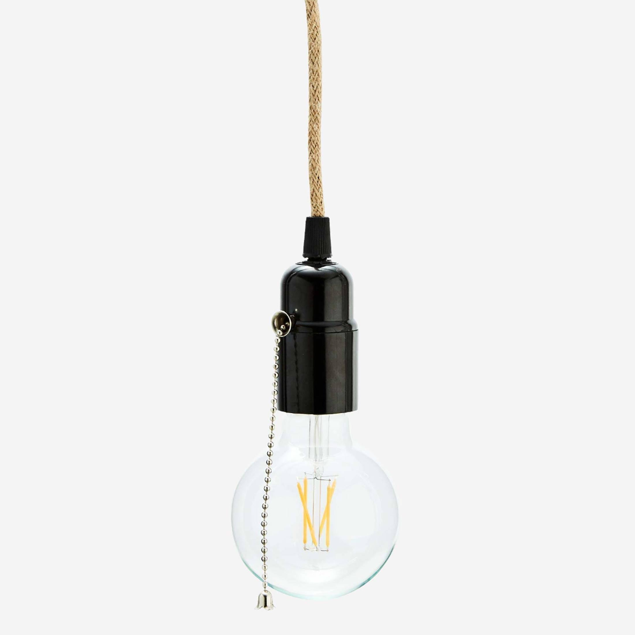 Lampenfassung aus Seil mit Schalter im maritimen & dezenten Look für E27 Glühbirnen & alle Madam Stoltz Lampen. Hübsche Lampenkabel aus Jute als Elektrik