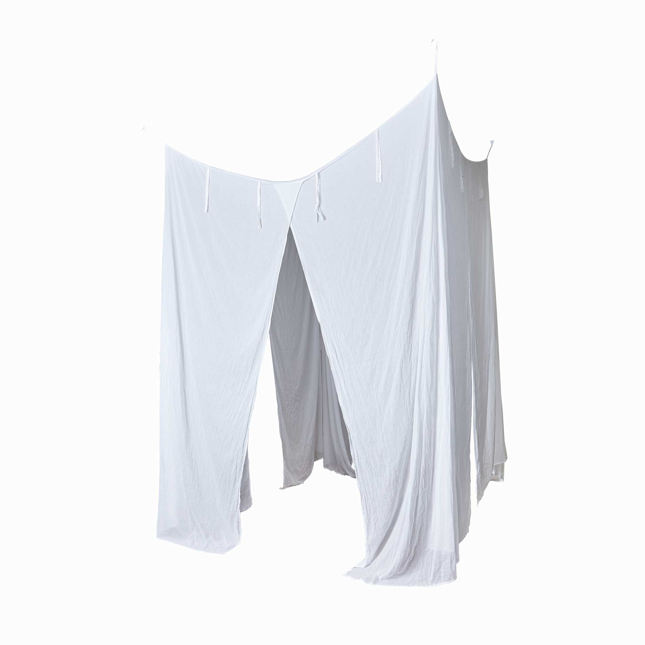 Betthimmel für das Schlafzimmer | Baldachin aus Stoff Weiss in 200 x 200 cm zum Aufhängen | Weißer Vorhang über dem Bett | Bettvorhang im Strandhaus Stil