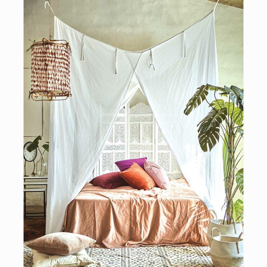 Betthimmel für das Schlafzimmer im Strandhaus Stil | Weißer Baldachin aus Stoff in 200 x 200 cm zum Aufhängen | Weißer Vorhang über dem Bett | Bettvorhang