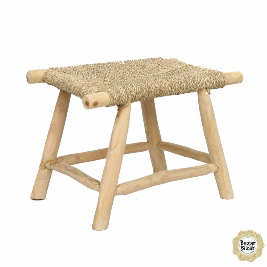The Porto Seagrass Stool ♥ Boho Deko Holz-Hocker aus Teakholz | Sitzfläche aus Seegras. Möbel von Bazar Bizar kaufen | Soulbirdee Shop