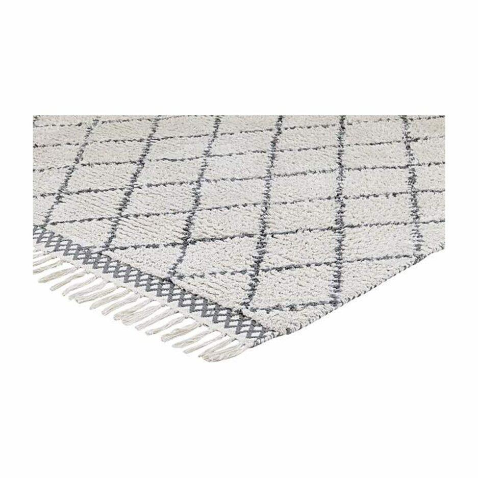 Beni Ourain Teppich in Beige Weiß und Grau aus weicher Bio Baumwolle in 60 x 90 cm von Liv Interior. Teppich für das Wohnzimmer mit Good Weave Siegel aus fairer Produktion