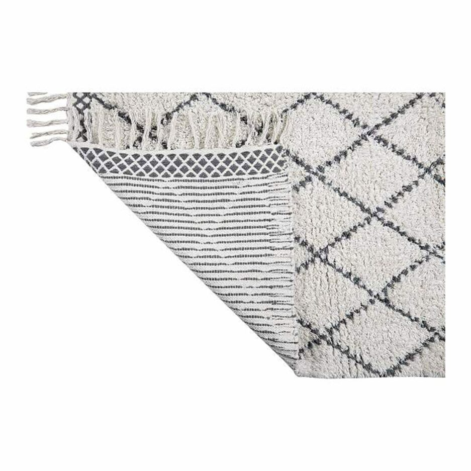 Beni Ourain Teppich in Beige Weiß und Grau aus weicher Bio Baumwolle in 60 x 90 cm von Liv Interior. Gesunder Teppich aus Biobaumwolle, faire Herstellung | schneller Versand