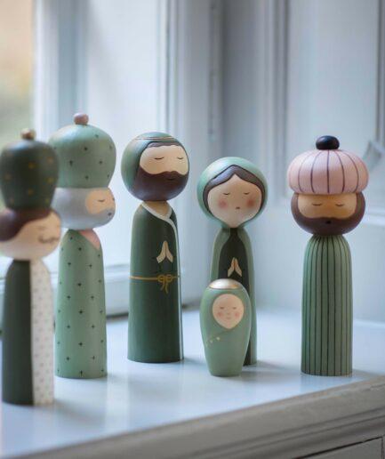 Kokeshi Figuren zu Weihnachten von der dänischen Firma Bungalow | Heilige 3 Könige und die heilige Familie | bei Soulbirdee Onlineshop Kokeshi Figuren kaufe
