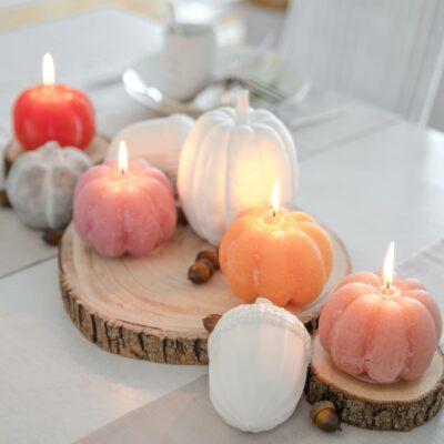 Kürbis Kerze Herbst Deco