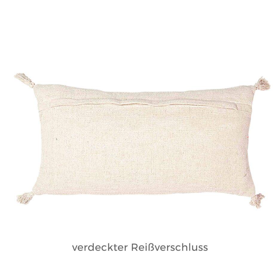 Kissenhülle mit Reißverschluß in in 60 x 30 cm zum Kuscheln | Kissen mit Sonne als Motiv und 4 Tassels. Das rechteckige Dekokissen von Liv Interior online kaufen