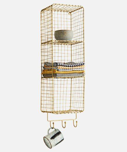 Wandregal aus goldfarbenem Metall zum aufhängen an der Wand. Das Regal hat Haken und Fächer um Handtücher und Utensilien darin unterzubringen. 70 x 20 x 17 cm