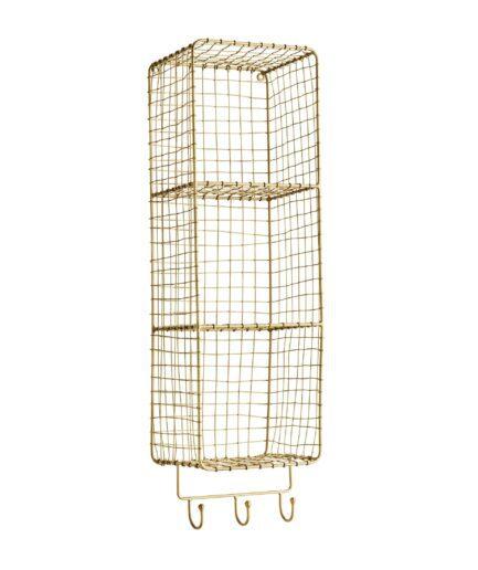 Regal aus goldfarbenem Metall zum aufhängen an der Wand. Das Regal hat Haken und Fächer um Handtücher und Utensilien darin unterzubringen. 70 x 20 x 17 cm