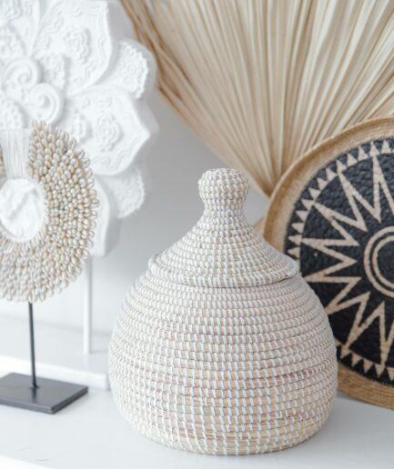 Deckelkorb aus Gras ✅ um ganz viele Kleinigkeiten darin zu verstauen ✅ Nützlich & schicke Dekoration zugleich. Für Badezimmer, Flur, Wohnzimmer, Küche