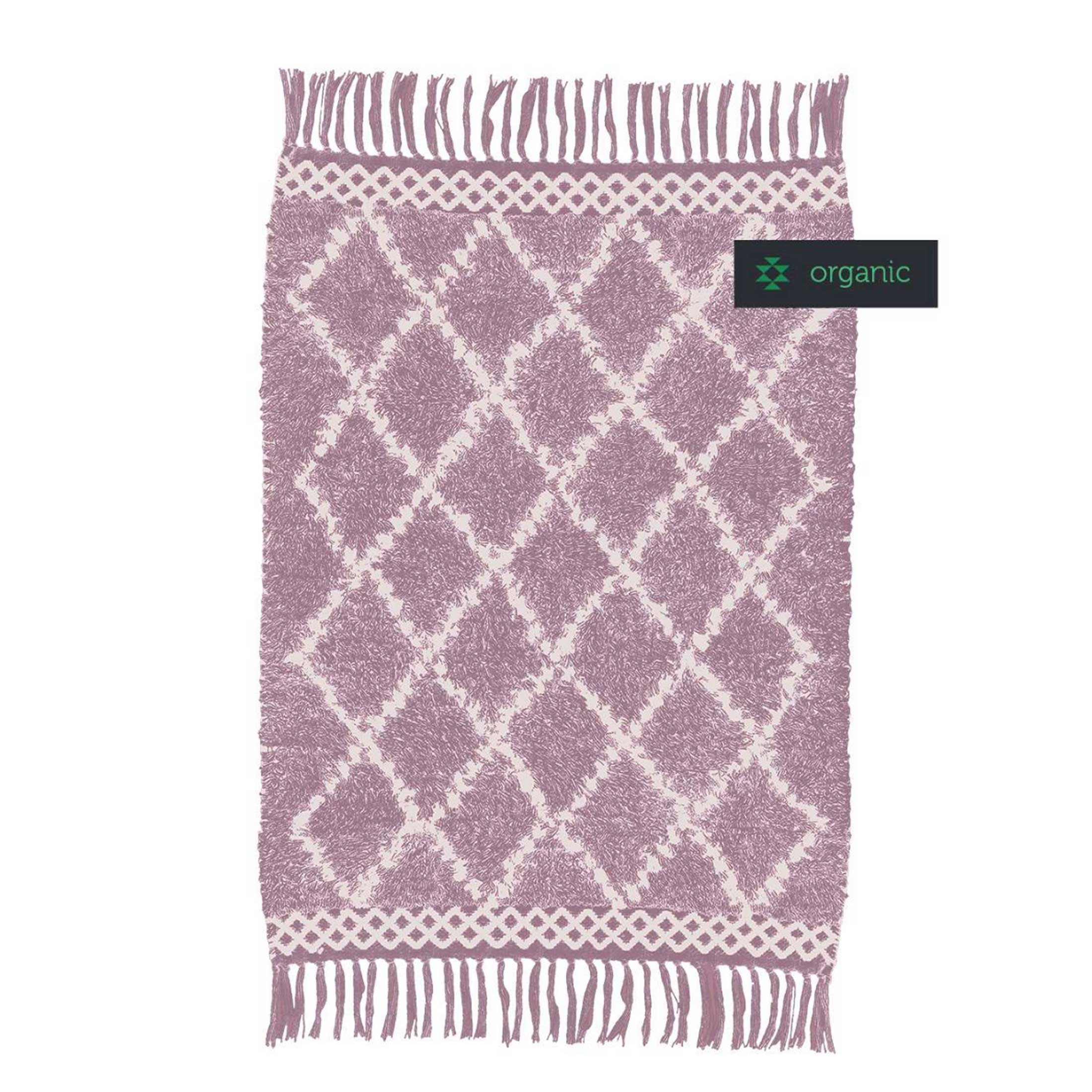 Beni Ourain Teppich in Rosa und Beige aus weicher Bio Baumwolle von Liv Interior. Gesunder Wohnzimmer-Teppich aus fairer Produktion | schneller Versand