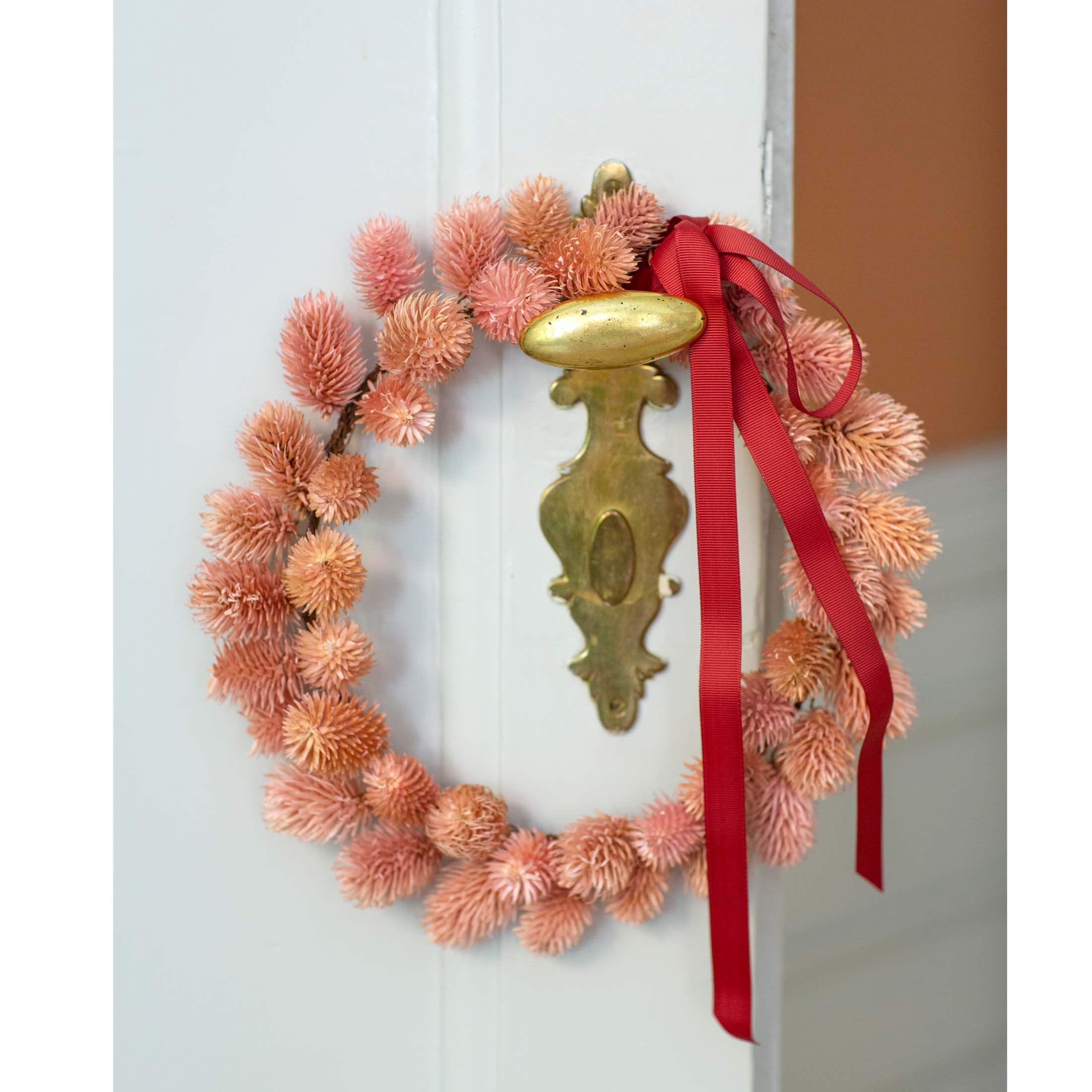 Herbstkranz aus Trockenblumen in Rosa | skandinavischer Deko Kranz aus Trockenblumen von Bungalow Dänemark für Ihre schöne Dekoration. Onlineshop Soulbirdee