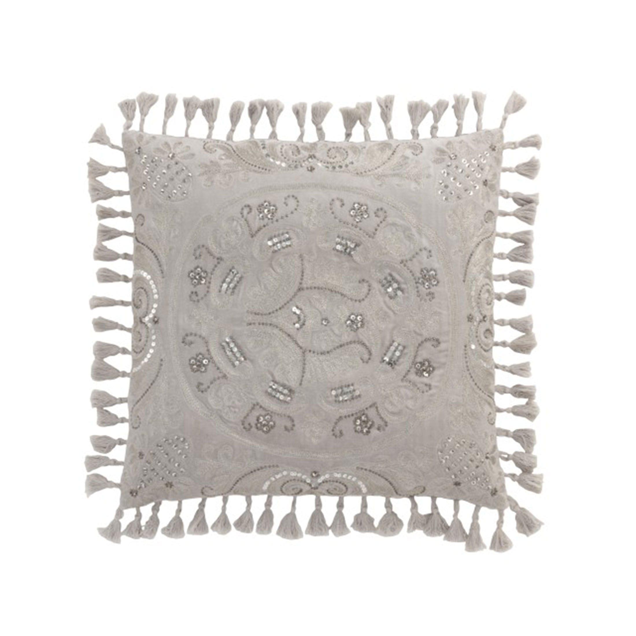 Marokkanisches Kissen aus Velours in 45x45 cm von der Marke J-Line. Das orientalische Kissen ist sehr weich und schmückt das Zuhause im marokkanischen Stil