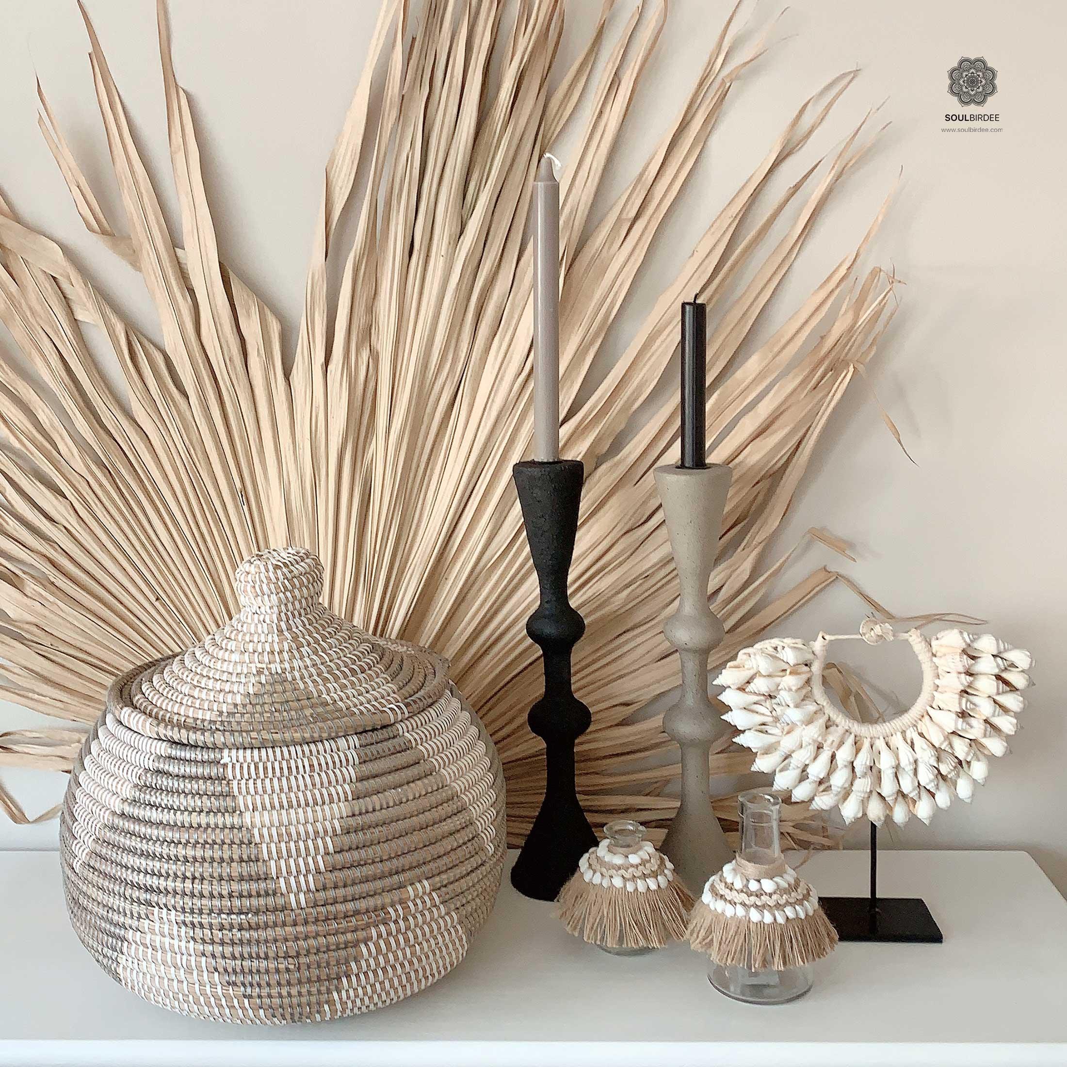 Korb in Silber Weiss | Deckelkorb aus Afrika | Aufbewahrung Ethno Stil
