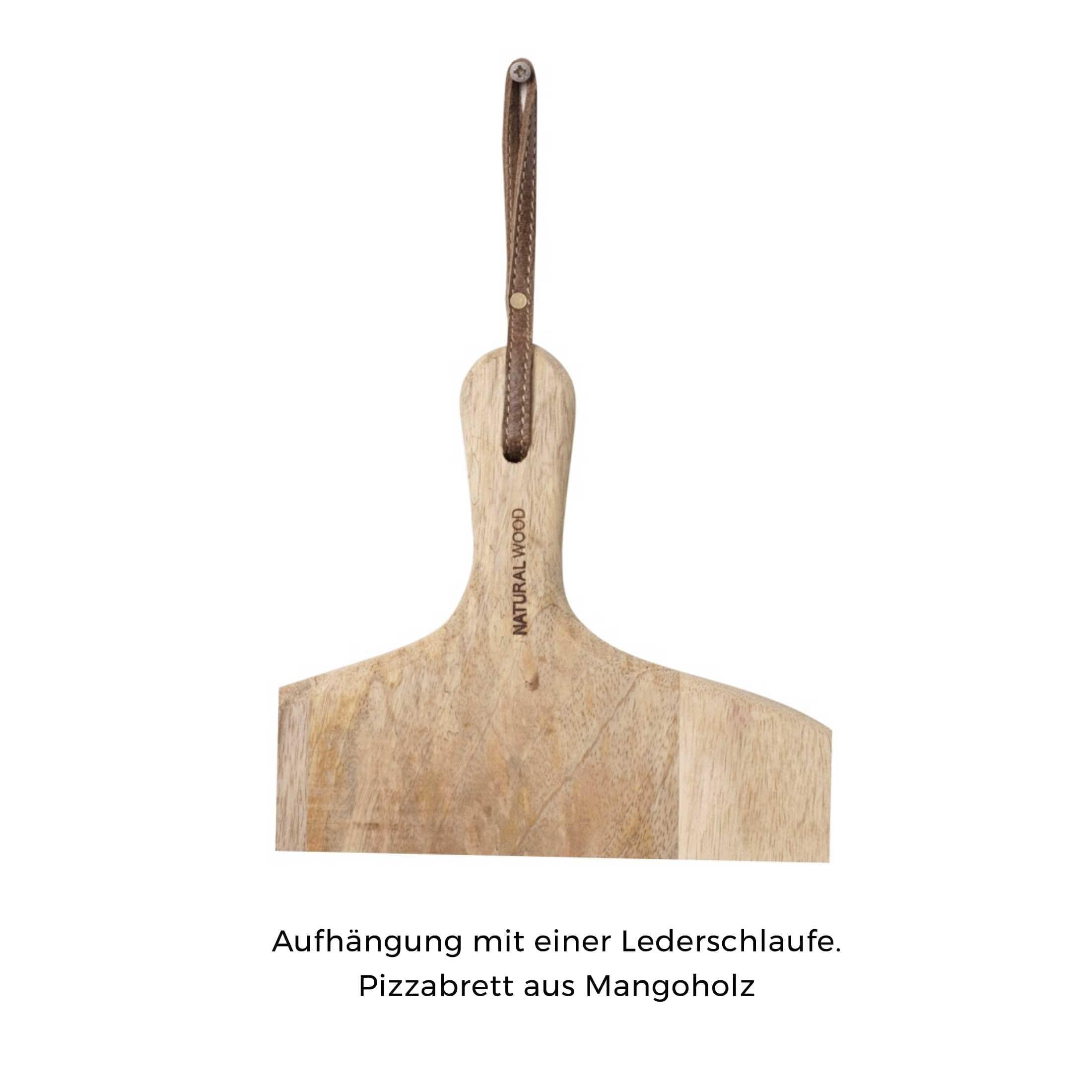 Pizzabrett Pizza-Master mit 50 cm Durchmesser. Das runde Brett aus Holz mit Griff hat eine Aufhängung aus Leder. Schneidebrett, Rundes Pizzabrett kaufen