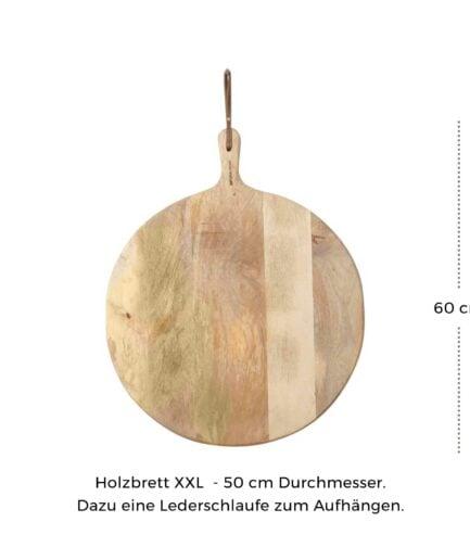 Servierbrett XXL Pizzabrett 50cm Durchmesser. Das runde Holzbrett mit Griff hat eine Aufhängung aus Leder. Schneidebrett, Rundes Pizzabrett kaufen