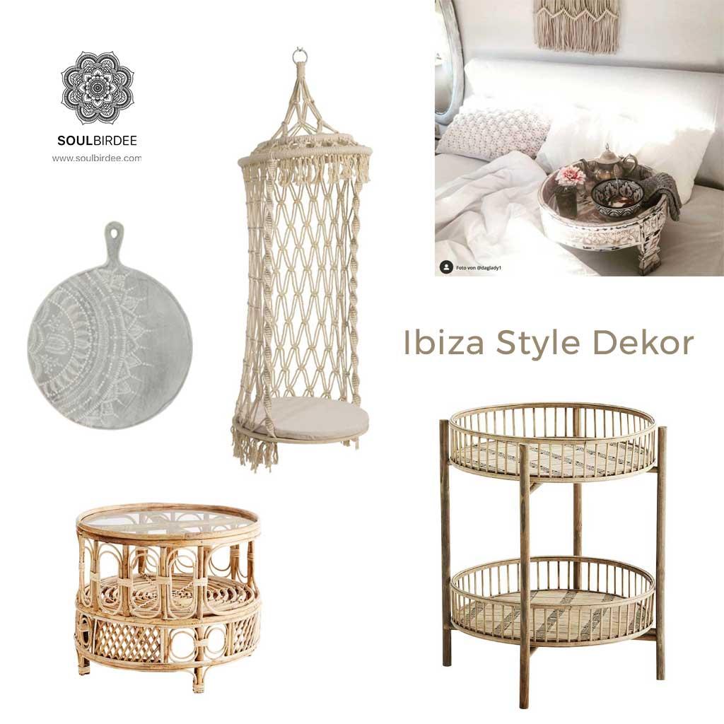 Kleine Tische, Beistelltisch, Hängesessel aus Makramee im Ibiza Wohnstil