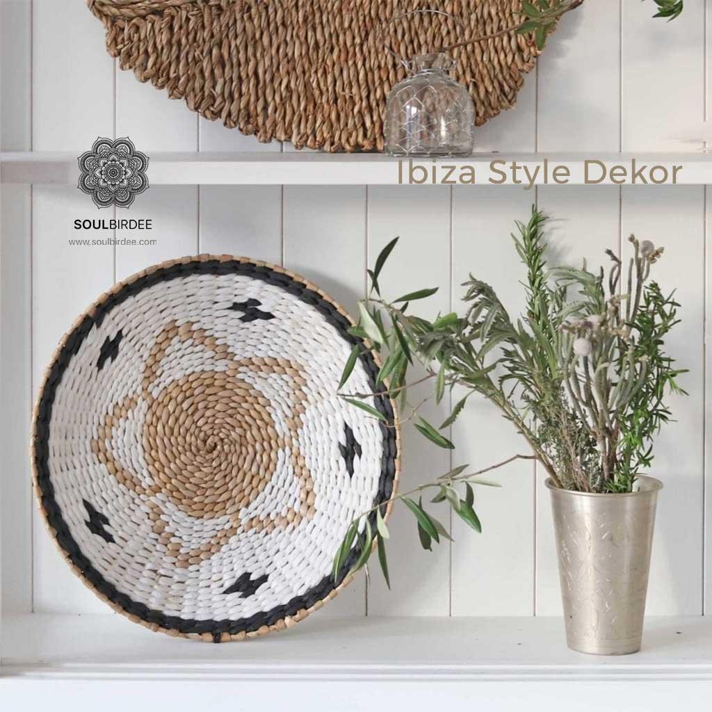 Korb Wandteller Wanddekoration aus Naturmaterial im Ibiza Einrichtungsstil